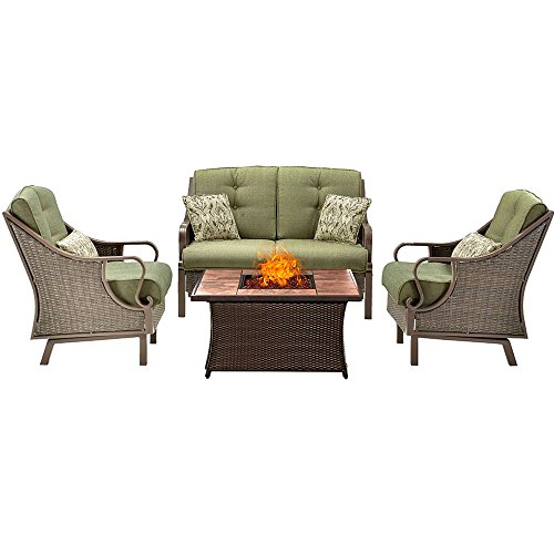 Outdoor Fire Pit Set With Chairs Propane Gas 4 Piece Seating Loveseat Rocking Motion Arm Chairs Resin Weave Porcelain Tile Top Modern Lounge Conversation Set Backyards Heater Center & eBook (Motion Lounge Chair)