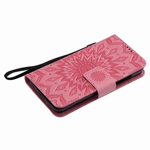 Yiizy Nokia Lumia 630 Custodia Cover, Sole Petali Design Sottile Flip Portafoglio PU Pelle Cuoio Copertura Shell Case Slot Schede Cavalletto Stile Libro Bumper Protettivo Borsa (Rosa)