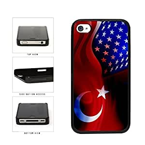 Turkey and USA Mixed Flag Plastic Phone Case Back Cover Apple iPhone 4 4s