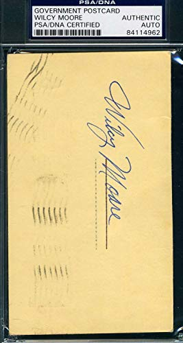 WILCEY MOORE PSA DNA Coa Autograph 1959 GPC Postcard Hand Signed