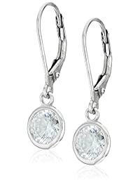 925 Sterling Silver 6mm Bezel AAA Cubic Zirconia Leverback Drop Earrings (1.68 cttw)