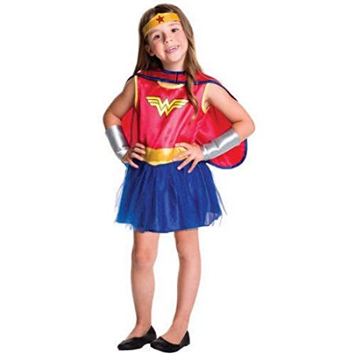 [Wonder Womans Classic Girls Toddler Tutu Dress Halloween Costume] (Toddler Vampire Halloween Costumes)