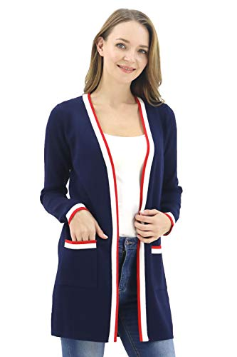 BENANCY Women's Long Open Front Casual Maxi Long Sleeve Cardigan Sweater with Pocket Navy S ()