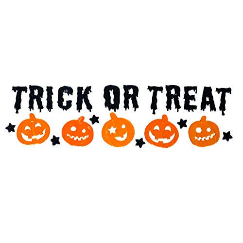 TRIXES Trick or Treat Halloween Pumpkin Glass Window Sticker Decorations - Word Gel Clings