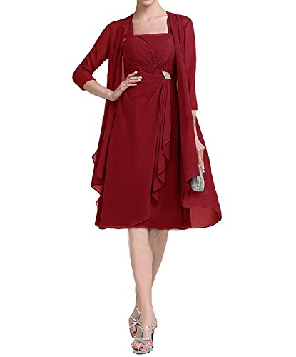 Fashion Two Piece Chiffon Mother of the Bride Dresses with Jacket Half Sleeves Burgundy (2 Piece Best Maid Dress)