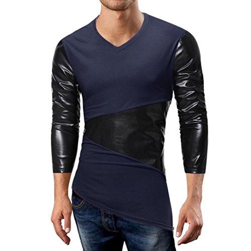 Shirts vermers Men's Autumn Casual Leather Patchwork Zipper Tee Long Sleeve Top Blouse(M, Dark Blue) ()