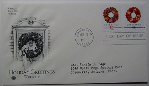 (Official First Day of Issue - First Day Cover - Christmas - 1998 - Holiday Greetings - Wreaths - October 15, 1998)