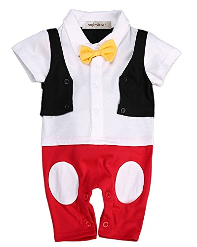 Stylesilove Baby Boy Bowtie Cartoon Photo Prop Romper Onesie (70/0-6 Months)