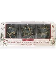 Yankee Candle Balsam & Cedar Holiday Votive Holder Gift Set with 3 Balsam & Cedar Votives