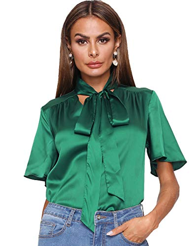 (Romwe Women's Stain Casual Loose Short Sleeve Bow Tie Blouse Top Shirts Green M)