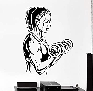 Zxfcczxf Gym Sticker Dumbbell Fitness Decal Body-Building Posters Vinilo Tatuajes De Pared Pegatina Quadro Parede Decor Mural Gym Sticker 58 * 80Cm: Amazon.es: Bricolaje y herramientas