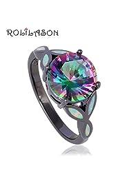 Cherryn Jewelry Women 10Kt Black Gold Jewelry Mystic Rainbow Topaz White fire Opal Ring fashion jewelry OR751
