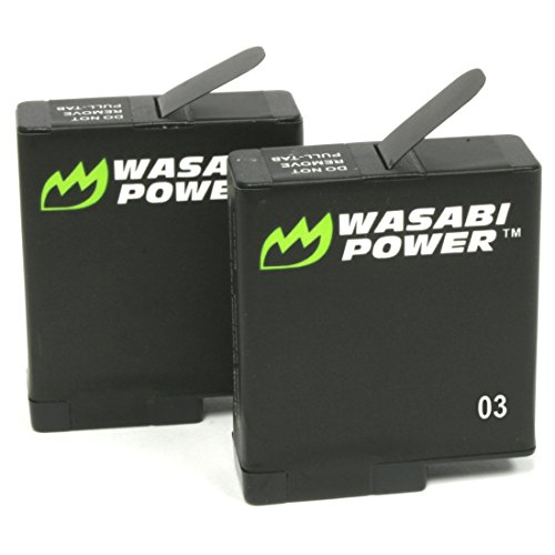 Wasabi Power Battery (2-Pack) for GoPro HERO7 Black, HERO6 Black, HERO5 Black, Hero (2018 Model)