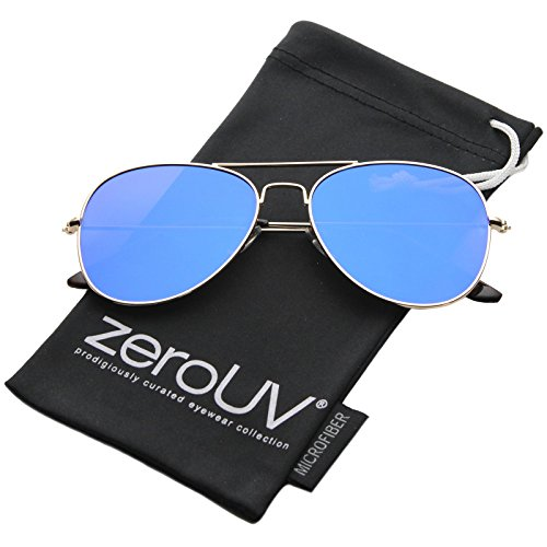 zeroUV - Classic Double Bridge Colored Mirror Flat Lens Aviator Sunglasses 55mm (Gold / Blue - Sunglasses Aviator Size 55