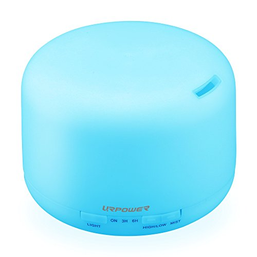 URPOWER 350ml Aromatherapy Essential Oil Diffuser Humidifier with 3 Timer Settings Waterless Auto Shut-off and 7 LED Color Changing Lamps