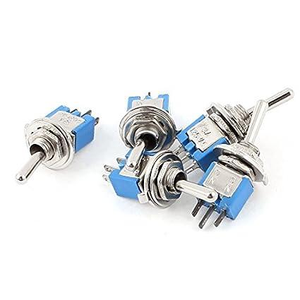 5pcs AC 125V 3A On-On SPDT Tópico 5 milímetros Retenção Mini Toggle Switch azul