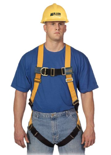 Polyester Universal Vest Style Harness (Miller Titan by Honeywell TF4000FD/UAK Polyester T-Flex Stretchable Harness with Front D-Ring Vest-Style, Universal)