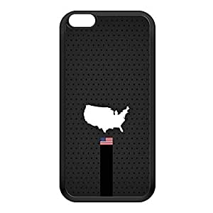 Elegant USA Flag and Map on Dark Gray - US Flag - American Flag - Flag of United States Black Silicon Rubber Case for iPhone 6 Plus by UltraFlags + FREE Crystal Clear Screen Protector