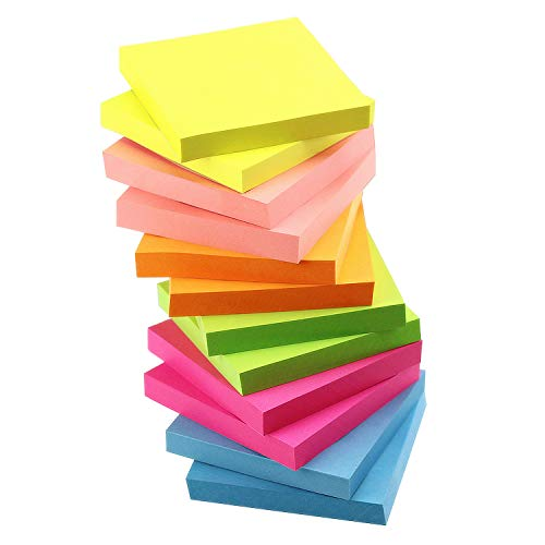 Early Buy 6 Bright Color Self-Stick Notes Sticky Notes 12 Pads/Pack 100 Sheets/Pad Sticky Notes 3 X 3 Inches Box Packing - Quality Improved (Notes Medium Sticky)