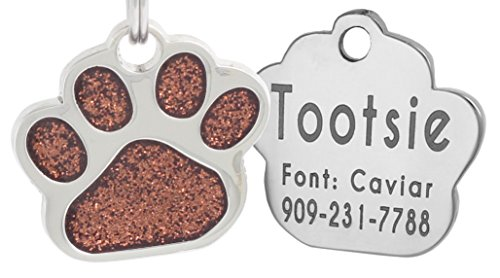 Laser Engraving Glitter Paw Pet ID Tags Custom Personalized for Dog & Cat Paw Print Tag (Brown)