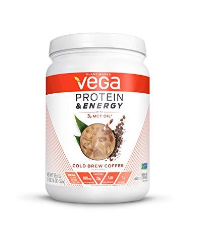 Vega Protein & Energy Cold Brew Coffee (15 Servings, 18.6 oz) – Plant Based Vegan Non Dairy Protein Powder, Gluten Free, Keto, MCT oil, Non GMO