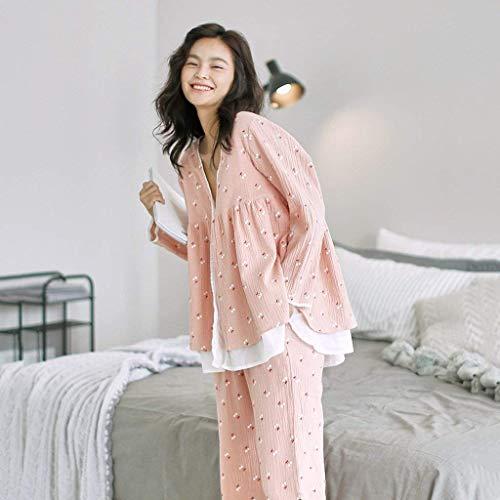 Pantalones Primavera Estilo Ropa Anchas Otoño De Estampadas Hogar Especial Cute V Moda Mujer El Pijamas Fashion Pink Pijama Para Cereza Conjunto Dormir cuello Elegantes BCzxv5qzRw