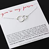 Friendship Necklace • You Are My Person Necklace • Love and Friendship Jewelry • Two Connected Circles • 925 Sterling Silver • You're My Tribe Unbiological Soul Sister Necklace • Gifts for BFF Besties