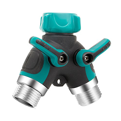 Hose Connector 2 Way Y Hose Splitter with Comfortable Rubberized Grip Suitable for Garden and Home Life(Green)