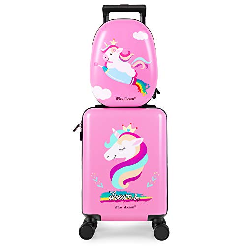 Unicorn Kids Carry on Luggage Set with Spinner Wheels, Girls Travel Suitcase – Pink