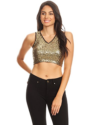 - Anna-Kaci Womens Juniors Sexy Clubwear Night Out Sequin V Neck Cropped Tank Top, Gold, Small