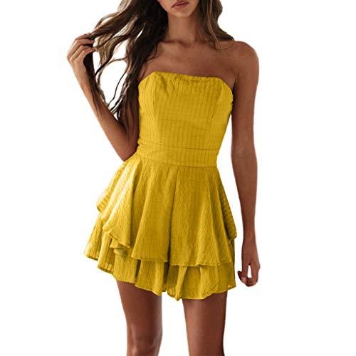 Bandeau Hem (Mini Dress for Women Off Shoulder Sleeveless Solid Bandeau Layered Hem Pleated Casual Cute Summer Dresses (S, Yellow))