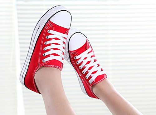 Lace Platform Fashion Canvas Top Amint Low Up Red Sneakers Shoes Women's qCTEqawZ