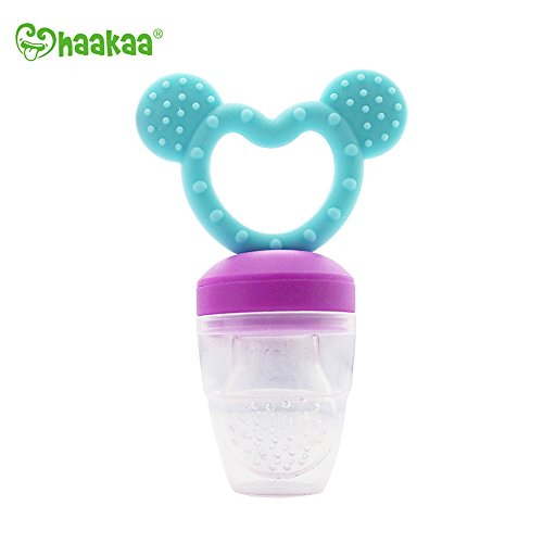 haakaa Fresh Food Feeder and Teether Food Grade Silicone PVC, BPA Free (Blue) (Feeder Sassy Food Baby Bottle)