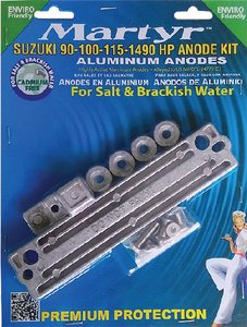 MARTYR ANODES Martyr Suzuki 90 100 115 140 HP Outboard Anode Kit Aluminum (Suzuki 140 Hp Outboard)