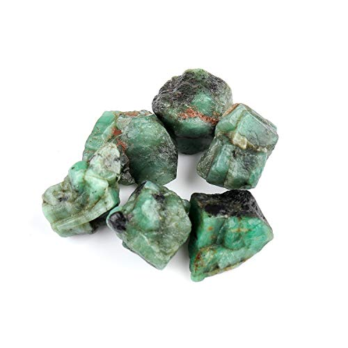 Jaguar Gems 50 Carats Natural Rough Emerald Stone Raw Crystals Supply for Jewelry Making Gemstone & Crystals Lot Healing Crystals | Heart Chakra Stone | May Birthstone | 5-15mm | 4-6pcs