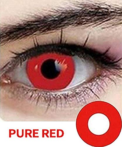 Mult-icolor Cosplay Eyes Cute Colored Charm and Attractive Fashion Contact Lenses Color Blends Cosmetic Makeup Eye Shadow (A Pair of Red) By CA4U -