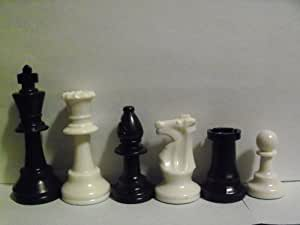 """House of Staunton 4.0"""" Weighted Plastic Collector Chess Set - Black & Ivory"""