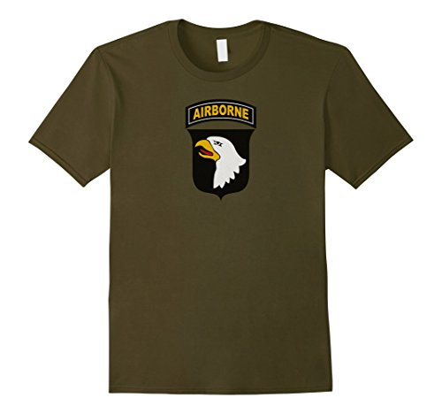 Mens 101st Airborne Division Shirt Vintage Army Veteran Tee Large Olive - 101st Airborne Shirts