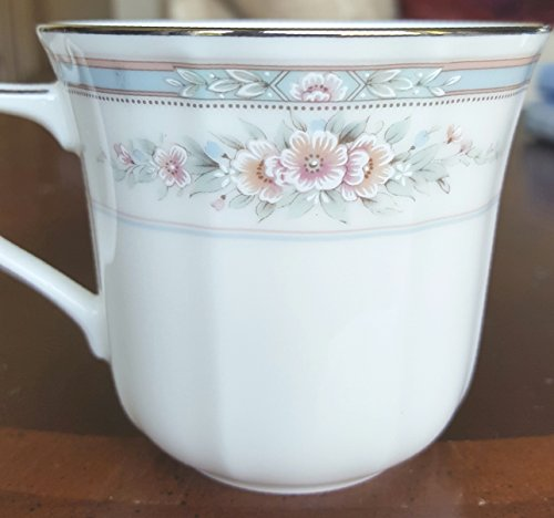 Noritake Rothschild, Tea Cups, Delicate Sprays of Pink and Light Blue Petite Roses on Ivory, Scalloped Shape, Embossed Flowers (Rose Cup Petite)