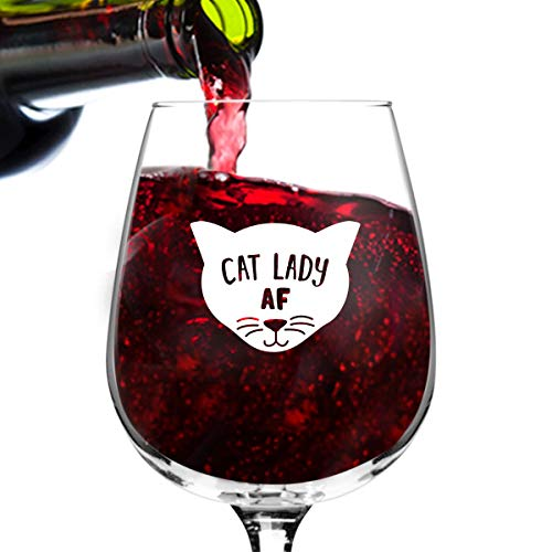 Cat Lady AF Novelty Wine Glass | Funny Cat Lover Message for Pet Owners and Wine Lovers | Cute Cat Mom AF Wine Glass | Dishwasher Safe | Made in USA (A Cat In Wine Glass)