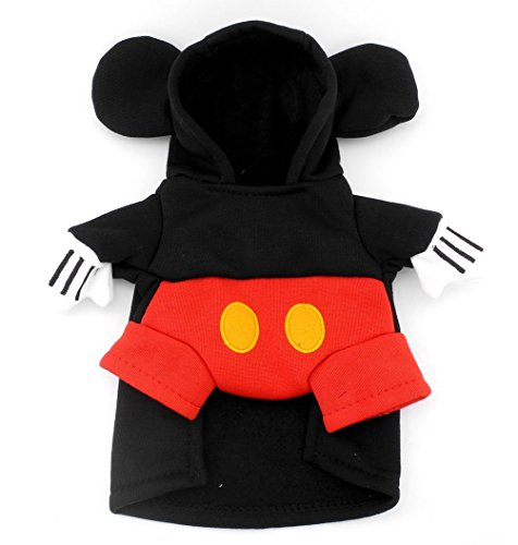 SMALLLEE_Lucky_Store Pet Dog Cat Mouse Costume Hoodie Party Cosplay Clothes,for Small Dog Under 20 pounds Black Red S]()