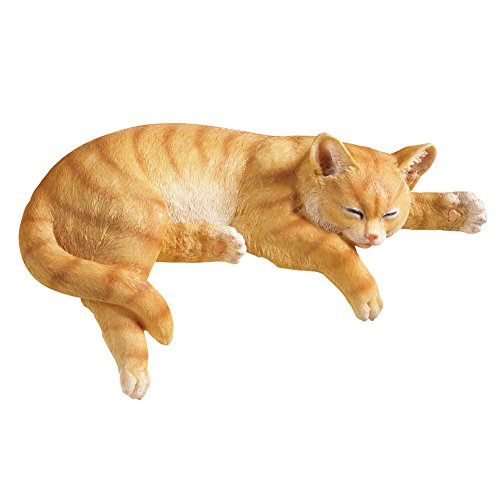 Collections Etc Outdoor Sleeping Cat Garden Statue Decoration Stair Step Sitter  Orange