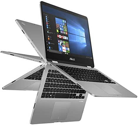 ASUS VivoBook Flip 14 Thin and Light 2-in-1 HD Touchscreen Laptop, Intel 2.6GHz Processor, 4GB RAM, 64GB Storage, Windows 10 in S Mode (Switchable to Win 10 Home), 1 Year Office 365 - J401MA-YS02