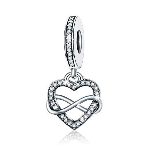 BAMOER Sterling Silver Infinity Love Symbol Dangle Heart Beads Charm for Bracelet by BAMOER