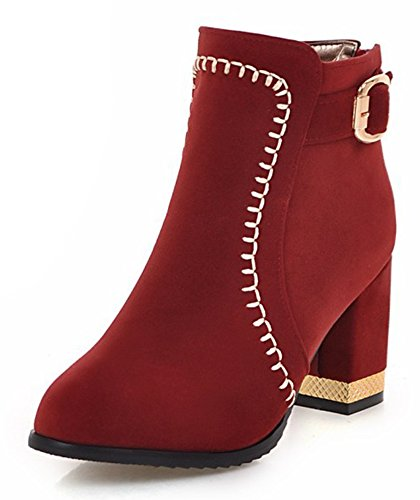 lined Fur Faux Aisun Chunky Heel Mid Women's Fashion Red Booties Party nxXZZw0qY