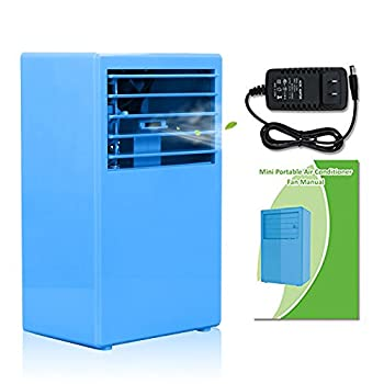 SUPOW Air Humidifier Cooler, Desktop Bladeless Fan Mini 9.5 inch Noiseless Small Air Conditioner for Summer. (Blue)