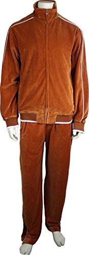 Sweatsedo Burnt Orange Mens Velour Tracksuit with White Piping (Large) from Sweatsedo