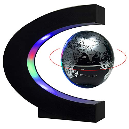 Magnetic Levitation Floating World Map Globe Light Lamp with Colored LED Lights C Shape Base for Kids & teens Home & Office Desk Decoration Lamp