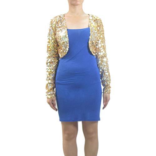 Women's Long Sleeve Metallic Sequin Gold Evening Embroidered Shrug Jacket - Embroidered Shrug