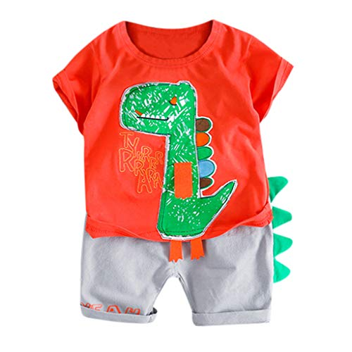 - ❤️ Mealeaf ❤️ Toddler Baby Kids Boy Dinosaur Tops T-Shirt Patchwork Short Pants Casual Outfits(3-24M)